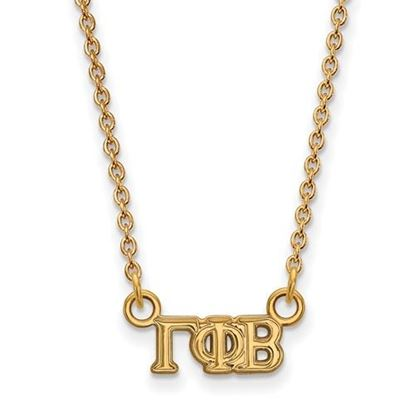 Picture of Gamma Phi Beta Sorority Sterling Silver Gold Plated Extra Small Pendant Necklace