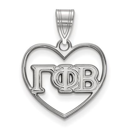 Picture of Gamma Phi Beta Sorority Sterling Silver Heart Pendant