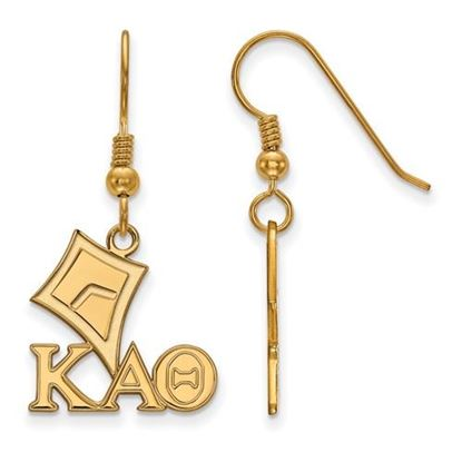Picture of Kappa Alpha Theta Sorority Sterling Silver Gold Plated Medium Dangle Earrings