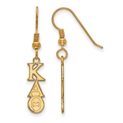 Picture of Kappa Alpha Theta Sorority Sterling Silver Gold Plated Small Dangle Earrings