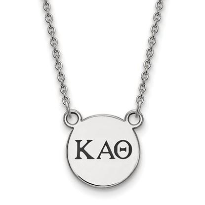 Picture of Kappa Alpha Theta Sorority Sterling Silver Extra Small Enameled Pendant Necklace