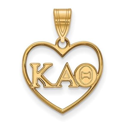 Picture of Kappa Alpha Theta Sorority Sterling Silver Gold Plated Heart Pendant