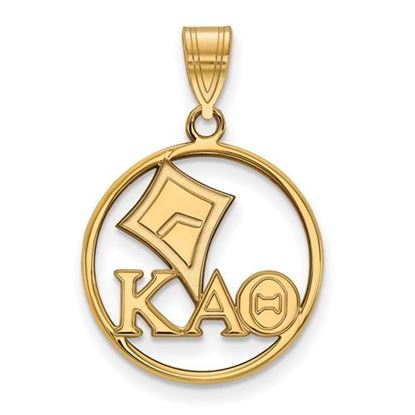 Picture of Kappa Alpha Theta Sorority Sterling Silver Gold Plated Small Circle Pendant