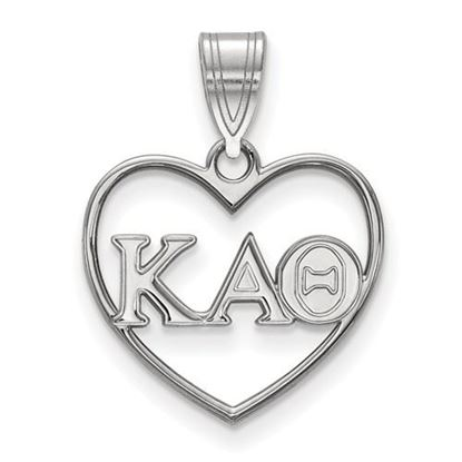 Picture of Kappa Alpha Theta Sorority Sterling Silver Heart Pendant
