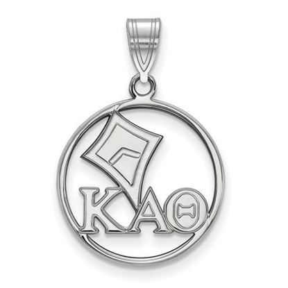 Picture of Kappa Alpha Theta Sorority Sterling Silver Small Circle Pendant