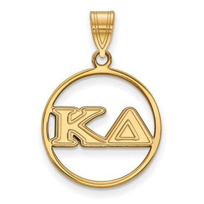 Picture of Kappa Delta Sorority Sterling Silver Gold Plated Small Circle Pendant