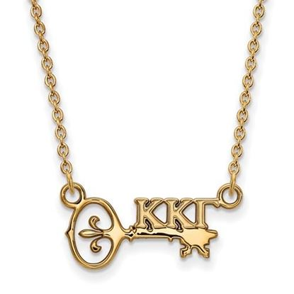 Picture of Kappa Kappa Gamma Sorority Sterling Silver Gold Plated Extra Small Pendant Necklace