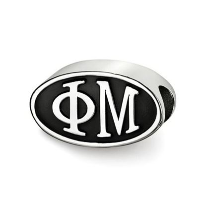 Picture of Phi Mu Sorority Sterling Silver Oval Symbol Letters Bead