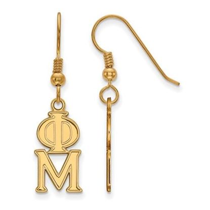 Picture of Phi Mu Sorority Sterling Silver Gold Plated Dangle Medium Earrings