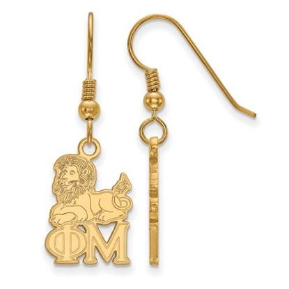 Picture of Phi Mu Sorority Sterling Silver Gold Plated Medium Dangle Earrings
