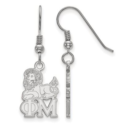 Picture of Phi Mu Sorority Sterling Silver Small Dangle Earrings