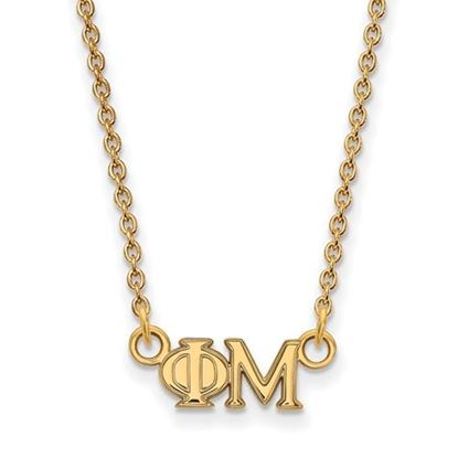 Picture of Phi Mu Sorority Sterling Silver Gold Plated Extra Small Pendant Necklace