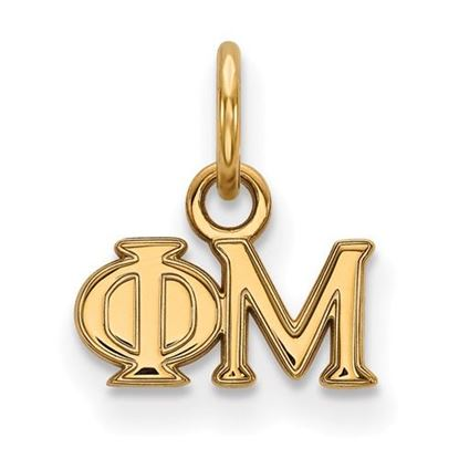 Picture of Phi Mu Sorority Sterling Silver Gold Plated Extra Small Pendant