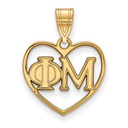 Picture of Phi Mu Sorority Sterling Silver Gold Plated Heart Pendant