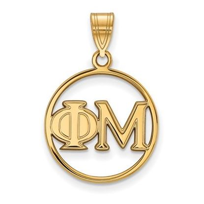 Picture of Phi Mu Sorority Sterling Silver Gold Plated Small Circle Pendant