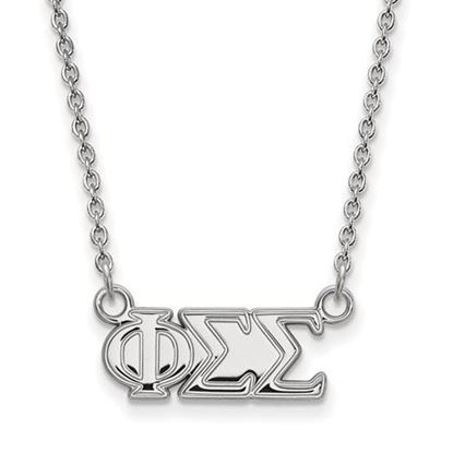 Picture of Phi Sigma Sigma Sorority Sterling Silver Medium Pendant Necklace