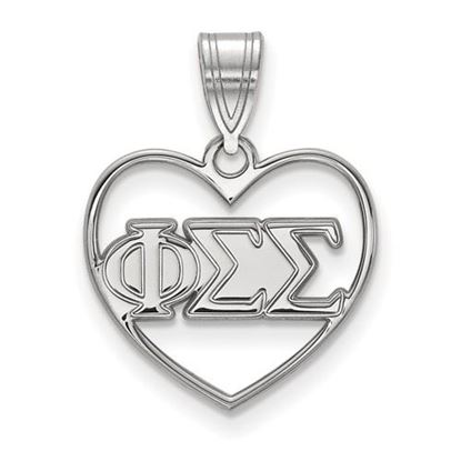 Picture of Phi Sigma Sigma Sorority Sterling Silver Heart Pendant
