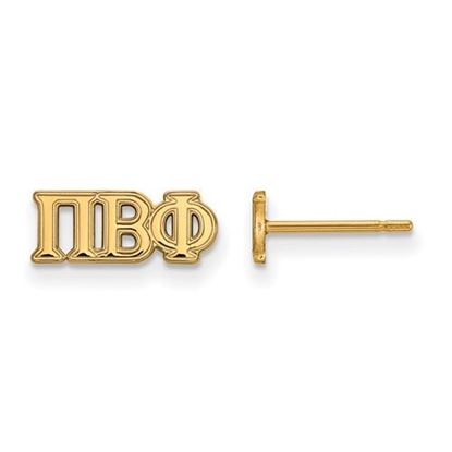 Picture of Pi Beta Phi Sorority Sterling Silver Gold Plated Extra Small Post Earrings