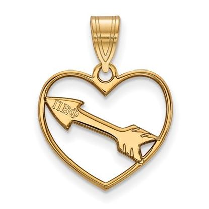 Picture of Pi Beta Phi Sorority Sterling Silver Gold Plated Heart Pendant