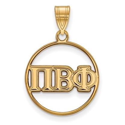 Picture of Pi Beta Phi Sorority Sterling Silver Gold Plated Small Circle Pendant