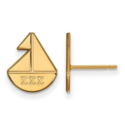 Picture of Sigma Sigma Sigma Sorority Sterling Silver Gold Plated Extra Small Post Earrings