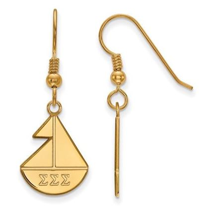 Picture of Sigma Sigma Sigma Sorority Sterling Silver Gold Plated Medium Dangle Earrings