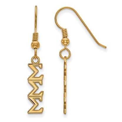 Picture of Sigma Sigma Sigma Sorority Sterling Silver Gold Plated Small Dangle Earrings