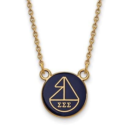 Picture of Sigma Sigma Sigma Sorority Sterling Silver Gold Plated Extra Small Enameled Pendant Necklace