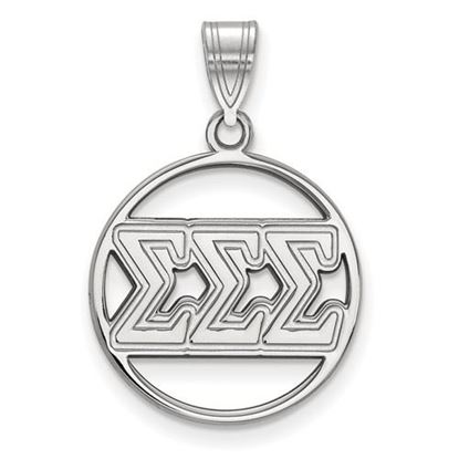 Picture of Sigma Sigma Sigma Sorority Sterling Silver Circle Pendant