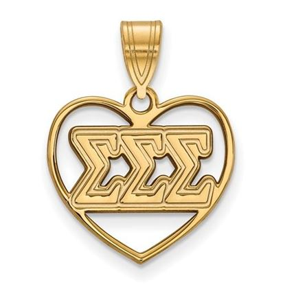 Picture of Sigma Sigma Sigma Sorority Gold Plated Heart Pendant