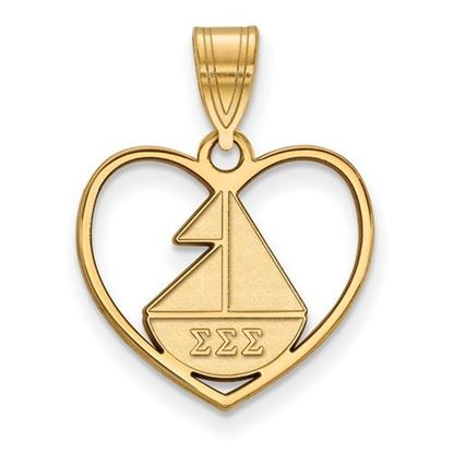 Picture of Sigma Sigma Sigma Sorority Sterling Silver Gold Plated Heart Pendant