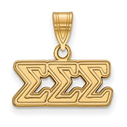 Picture of Sigma Sigma Sigma Sorority Sterling Silver Gold Plated Medium Pendant