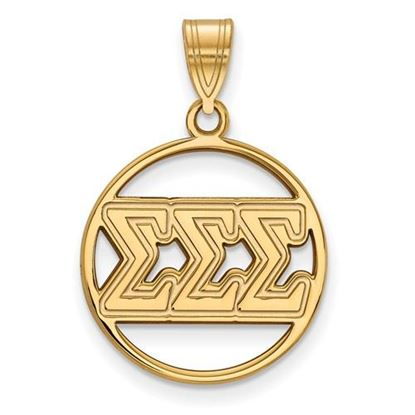 Picture of Sigma Sigma Sigma Sorority Sterling Silver Gold Plated Small Circle Pendant