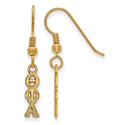 Picture of Theta Phi Alpha Sorority Sterling Silver Gold Plated Small Dangle Earrings