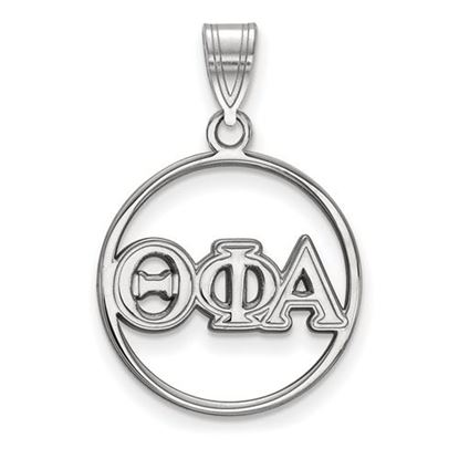 Picture of Theta Phi Alpha Sorority Sterling Silver Circle Pendant