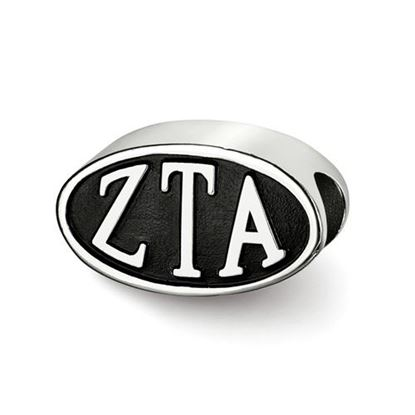 Picture of Zeta Tau Alpha Sorority Sterling Silver Oval Symbol Letters Bead