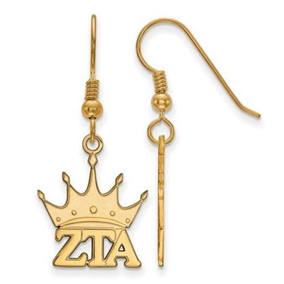 Picture of Zeta Tau Alpha Sorority Sterling Silver Gold Plated Medium Dangle Earrings