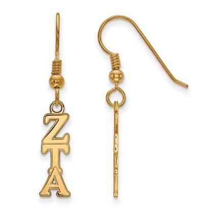 Picture of Zeta Tau Alpha Sorority Sterling Silver Gold Plated Small Dangle Earrings