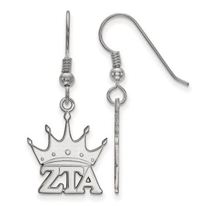 Picture of Zeta Tau Alpha Sorority Sterling Silver Small Dangle Earrings
