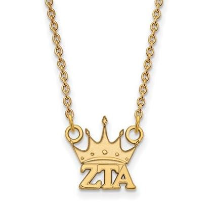 Picture of Zeta Tau Alpha Sorority Gold Plated Crown Pendant Necklace