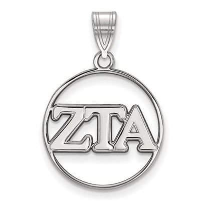 Picture of Zeta Tau Alpha Sorority Sterling Silver Circle Pendant