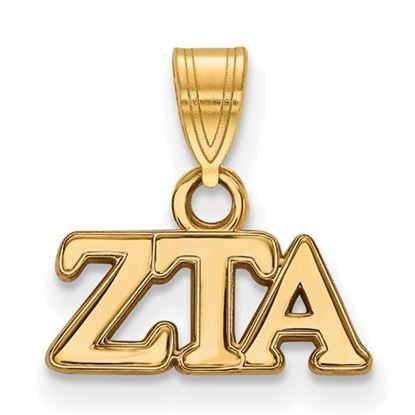 Picture of Zeta Tau Alpha Sorority Sterling Silver Gold Plated Small Pendant