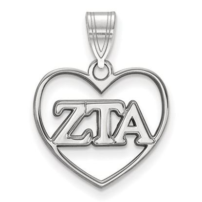 Picture of Zeta Tau Alpha Sorority Sterling Silver Heart Pendant