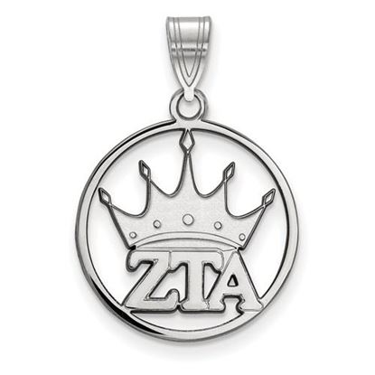 Picture of Zeta Tau Alpha Sorority Sterling Silver Small Circle Pendant