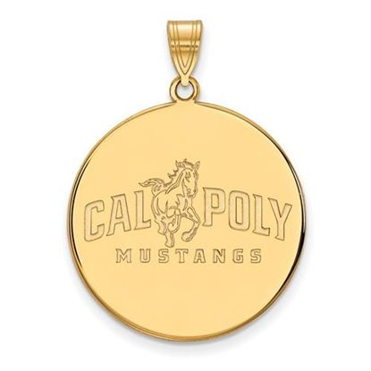 Picture of California Polytechnic State University Mustangs Sterling Silver Gold Plated Extra Large Disc Pendant