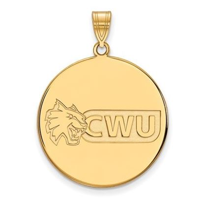 Picture of Central Washington University Wildcats Sterling Silver Gold Plated Extra Large Disc Pendant