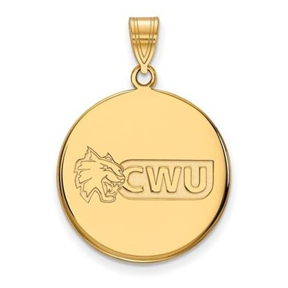 Picture of Central Washington University Wildcats Sterling Silver Gold Plated Large Disc Pendant