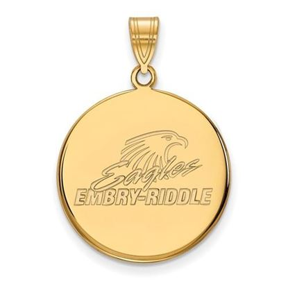 Picture of Embry-Riddle Aeronautical University Eagles 14k Yellow Gold Large Disc Pendant