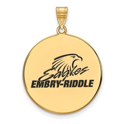 Picture of Embry-Riddle Aeronautical University Eagles Sterling Silver Gold Plated Extra Large Enameled Disc Pendant