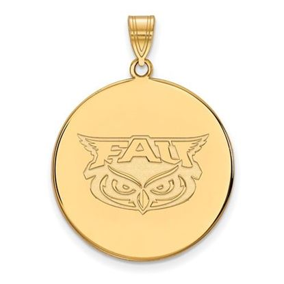 Picture of Florida Atlantic University Owls Sterling Silver Gold Plated Extra Large Disc Pendant